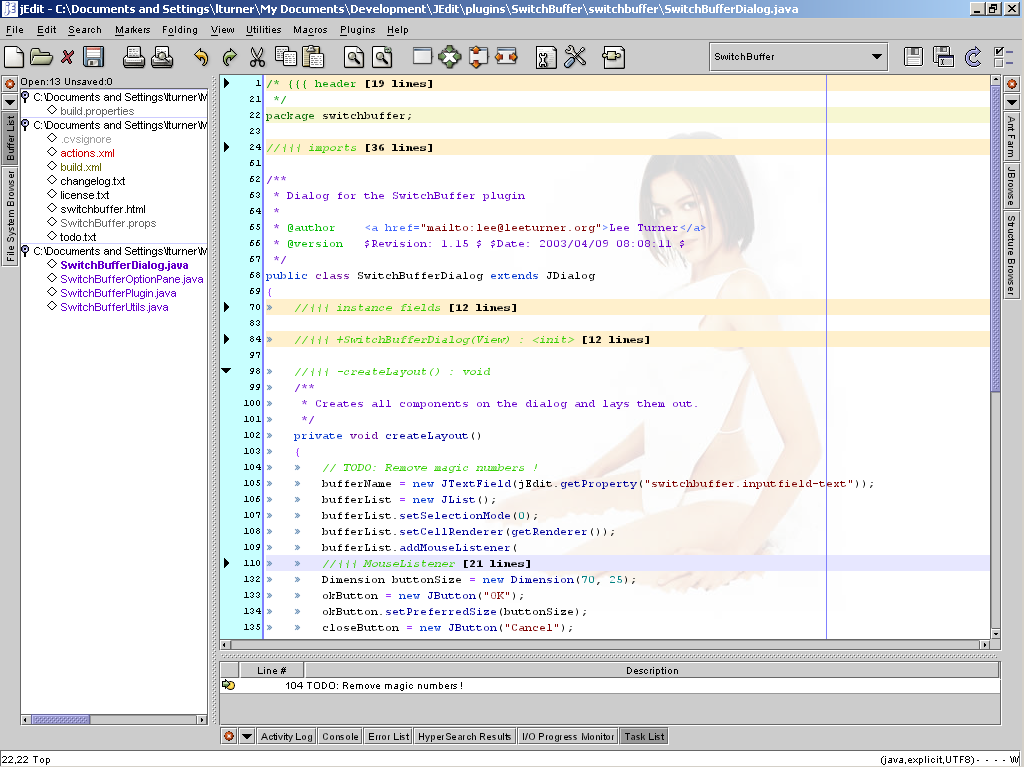 A sample screenshot of the editor jEdit
