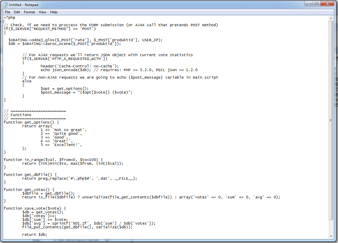 Una muestra de pantalla de Windows Notepad