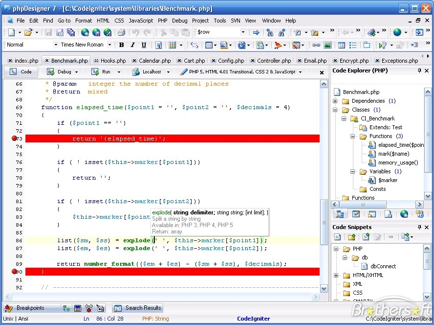 A sample screenshot of the editor phpDesigner